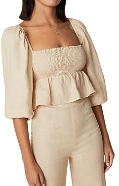 Faithfull The Brand Vivica Linen Puff Sleeve Top