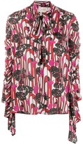 La DoubleJ abstract-print pussy bow blouse