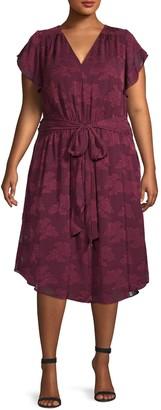 Rachel Roy Plus Floral Tie-Waist Midi Dress