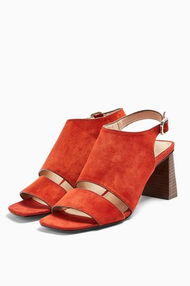 Topshop Womens Nateisha Leather Block Sandals - Rust