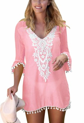 Beautyplay Womens Beach Blouse Cover Up Dress V Neck Print Swimsuit Beachwear Bikini Stylish Swimwear White