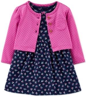 Carter's Baby Girls 2-Pc. Cotton Floral-Print Bodysuit Dress & Cardigan Set