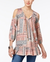 Style&Co. Style & Co Style & Co Petite Printed Cold-Shoulder Peasant Top, Created for Macy's