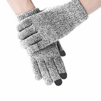 Hantaostyle women Cable Knit Warm Anti-Slip Touchscreen Texting Gloves - grey - One Size