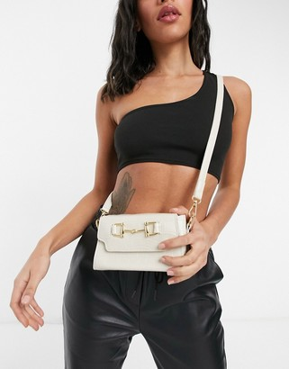Ego X Molly Mae handheld shoulder bag with buckle in white croc with ruched handle