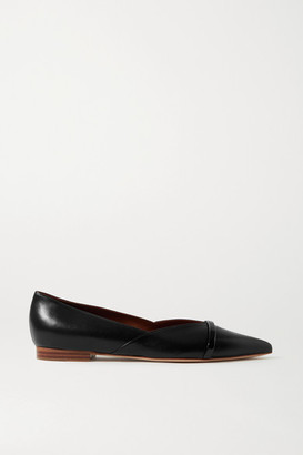 Malone Souliers Colette Patent-trimmed Leather Point-toe Flats - Black