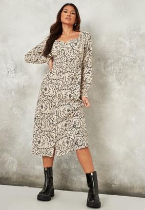 Missguided Stone Floral Print Button Through Milkmaid Midi Dress
