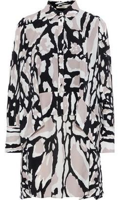 Roberto Cavalli Layered Printed Silk Crepe De Chine Mini Shirt Dress