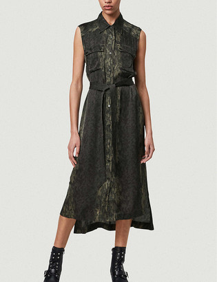 AllSaints Esthie snakeskin-print crepe midi shirt dress