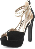 Ankle-Wrap Metallic Trim Heel