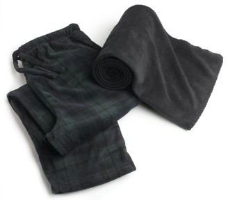 Intimo Men's Polar Fleece Pant with free Blanket