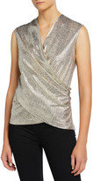Ramy Brook Rumi Metallic Wrap-Front Top