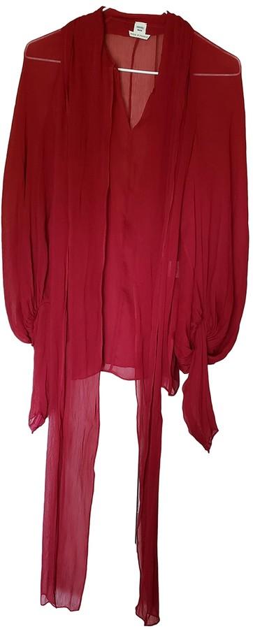 Hermes Red Silk Tops