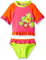 Wippette Baby Girls Assorted Flowers 2 Piece Swimsuit Rashguard Bikini, Pink