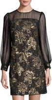 Julia Jordan Long-Sleeve Lace-Overlay Dress, Black/Gold