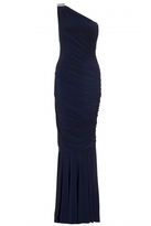 Quiz Navy One Shoulder Ruched Maxi Dress