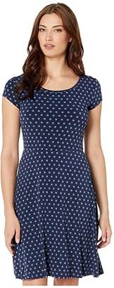 MICHAEL Michael Kors Mod Dot Cap Sleeve Dress (True Navy/Dark Chambray) Women's Clothing