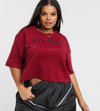 Nike Plus Burgundy Oversized Crop T-Shirt