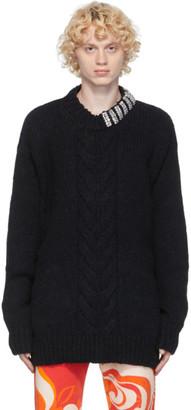Dries Van Noten Black Rhinestone Collar Sweater
