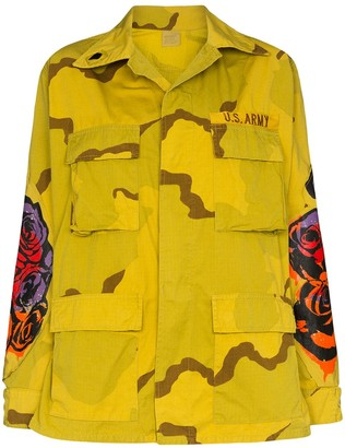 R 13 Floral Print Military-Style Jacket