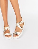 London Rebel Cross Strap Stud Flat Sandals