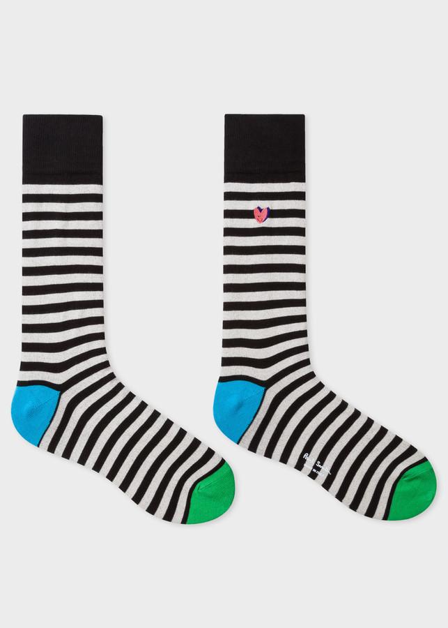 Thumbnail for your product : Men's Black Stripe 'Smiling Heart' Motif Socks