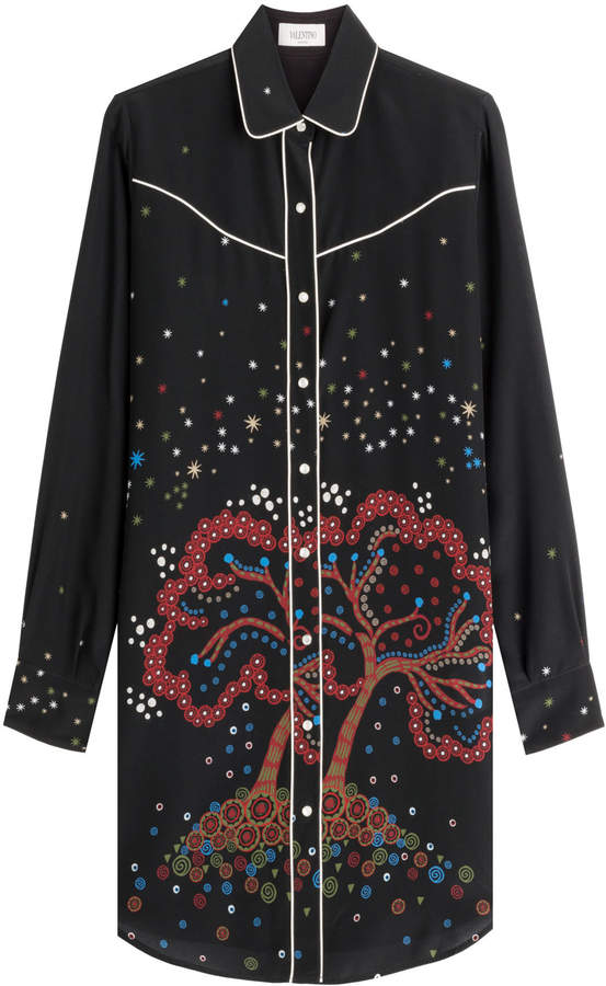 Valentino Printed Silk Tunic Blouse