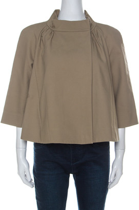 Marni Beige Cotton Raglan Sleeve Stand Collar Jacket M