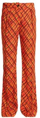 Marni Tartan-print Flared Trousers - Womens - Orange Print