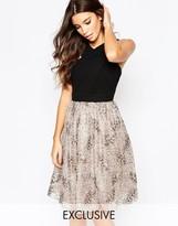 Little Mistress Pleated Chiffon Dress With Sequin Skirt