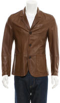 Brunello Cucinelli Leather Notch-Lapel Jacket
