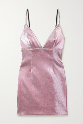 Area Crystal-embellished Lurex Mini Dress - Pink