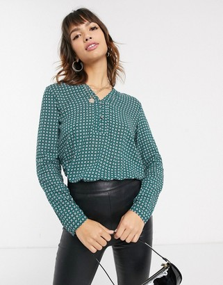 Esprit geo ditsy print woven blouse in green