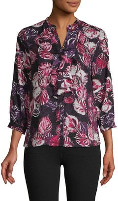 Karl Lagerfeld Paris Printed Ruffle Buttoned Top