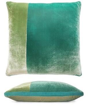 Kevin OBrien Kevin O'Brien Studio Color Block Velvet Throw Pillow Kevin O'Brien Studio Color: Celadon