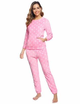Aibrou Women Flannel Pyjama Sets Warm Loungewear Long Sleeve Nightwear Sleepwear PJ's for Winter Gray