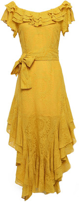 Marissa Webb Ruffled Belted Embroidered Silk-gauze Dress