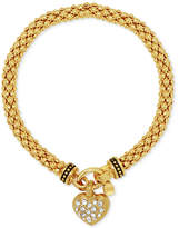 Nine West Weave-Style Pavé Heart Charm Stretch Bracelet
