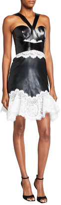 Alexander McQueen Lace Paneled Halter Leather Dress
