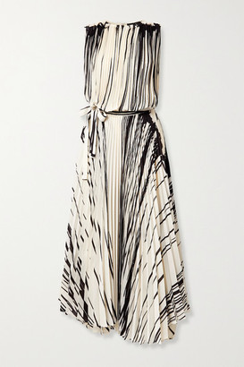 Proenza Schouler Pleated Printed Crepe Wrap Maxi Dress - Cream