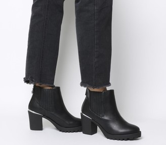 Office Agile Chunky Chelsea Boots Black With Metal Heel Clip