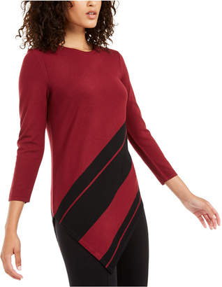 Alfani Petite Striped Asymmetrical Tunic