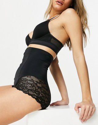 Lindex Kim high waist lace trim medium shaping brief in white