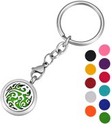 HOUSWEETY Cloud Essential Oil Locket Keychain Keyring with 11 Refill Pads