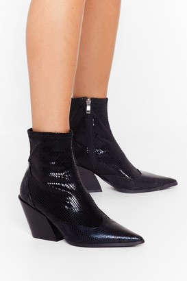 Nasty Gal Womens You've Missed the Point Faux Leather Snake Boots - Black