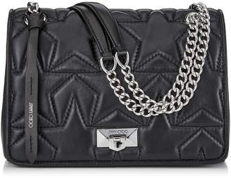 Jimmy Choo HELIA SHOULDER BAG Black Nappa and Silver Shoulder Bag with Chain Strap