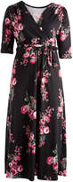 Glam Black & Red Floral Surplice Maxi Dress - Plus