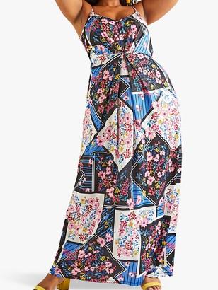 Yumi Curves Floral Scarf Print Maxi Dress, Multi