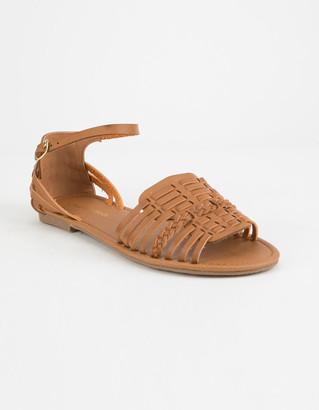 City Classified Woven Basket Weave Tan Womens Sandals