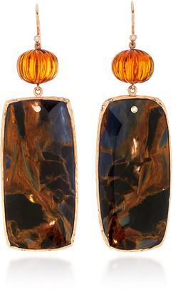 GUITA M 18K Gold Blue Pietersite Earrings
